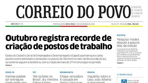 Blog Sete Candeeiros Cajá: As manchetes do jornal Correio do Povo https://t.co/jFskF2u3uG https://t.co/MOguuDLGmy