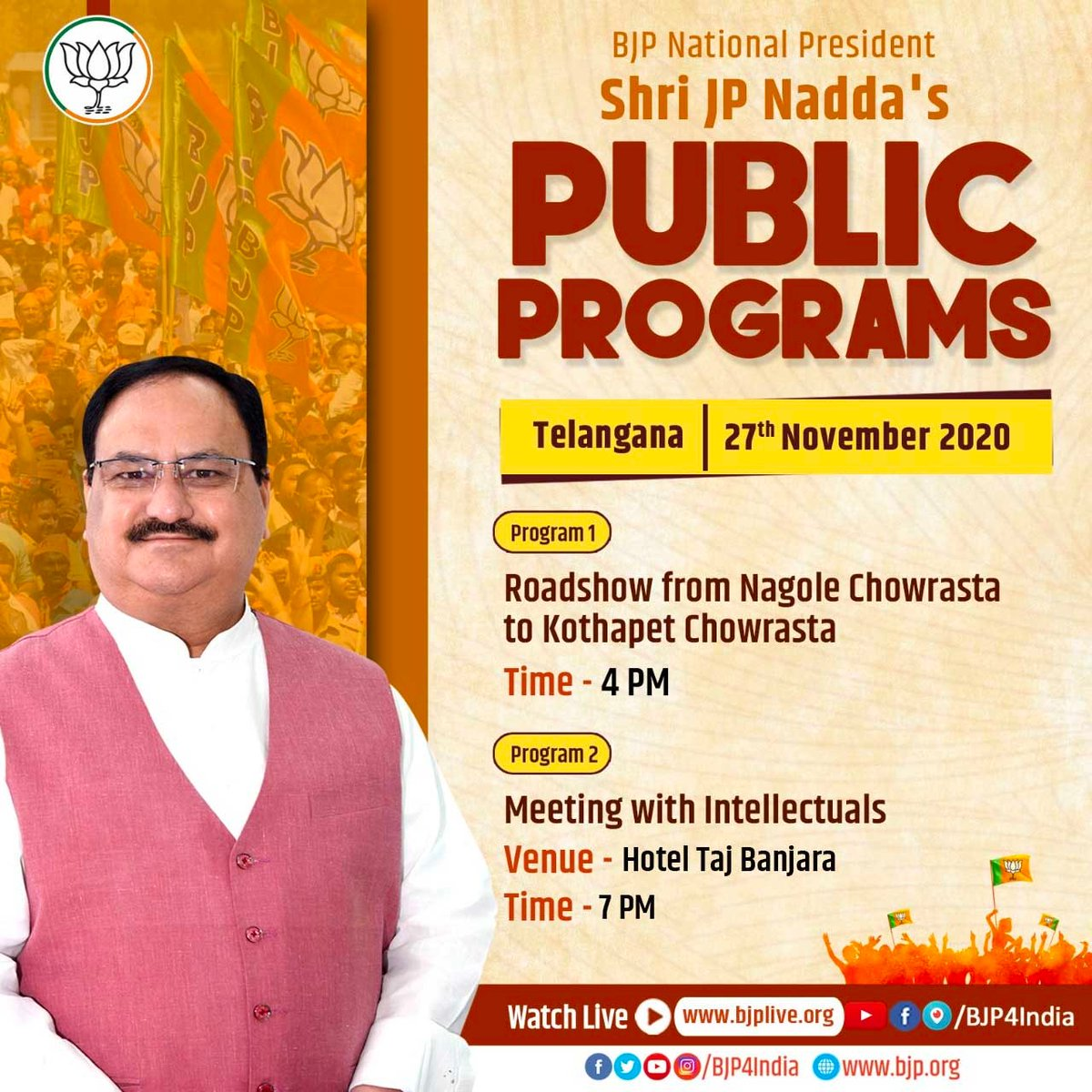 Updated schedule of BJP National President Shri @JPNadda's public programs in Hyderabad, Telangana today.  Watch on  •  •  •  •   #JPNadda4GHMC