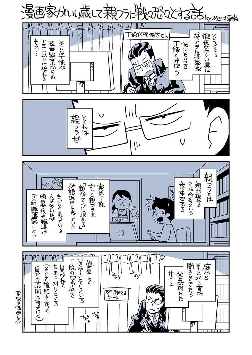 『漫画家がいい歳して親フラに戦々恐々とする話』身の回りの日常や、思い出話などを日記漫画的に残していこうと思います。#スタジオ東條