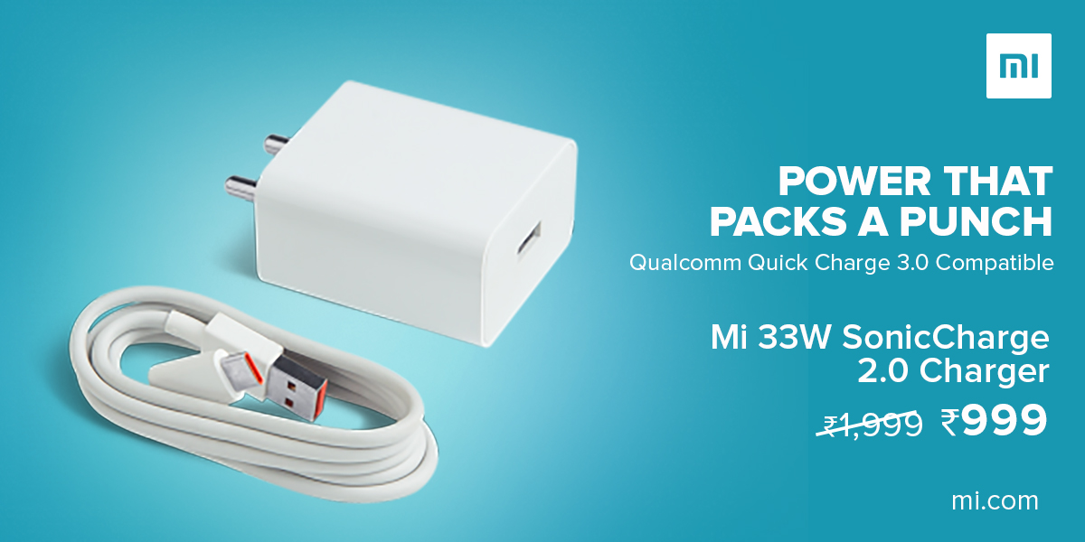 Faster and more powerful!   #Mi33WSonicCharge 2.0 Charger Combo with    - 33W Intelligent Output - Qualcomm® Quick Charge™ 3.0 Compatible  Available at ₹999 on  -