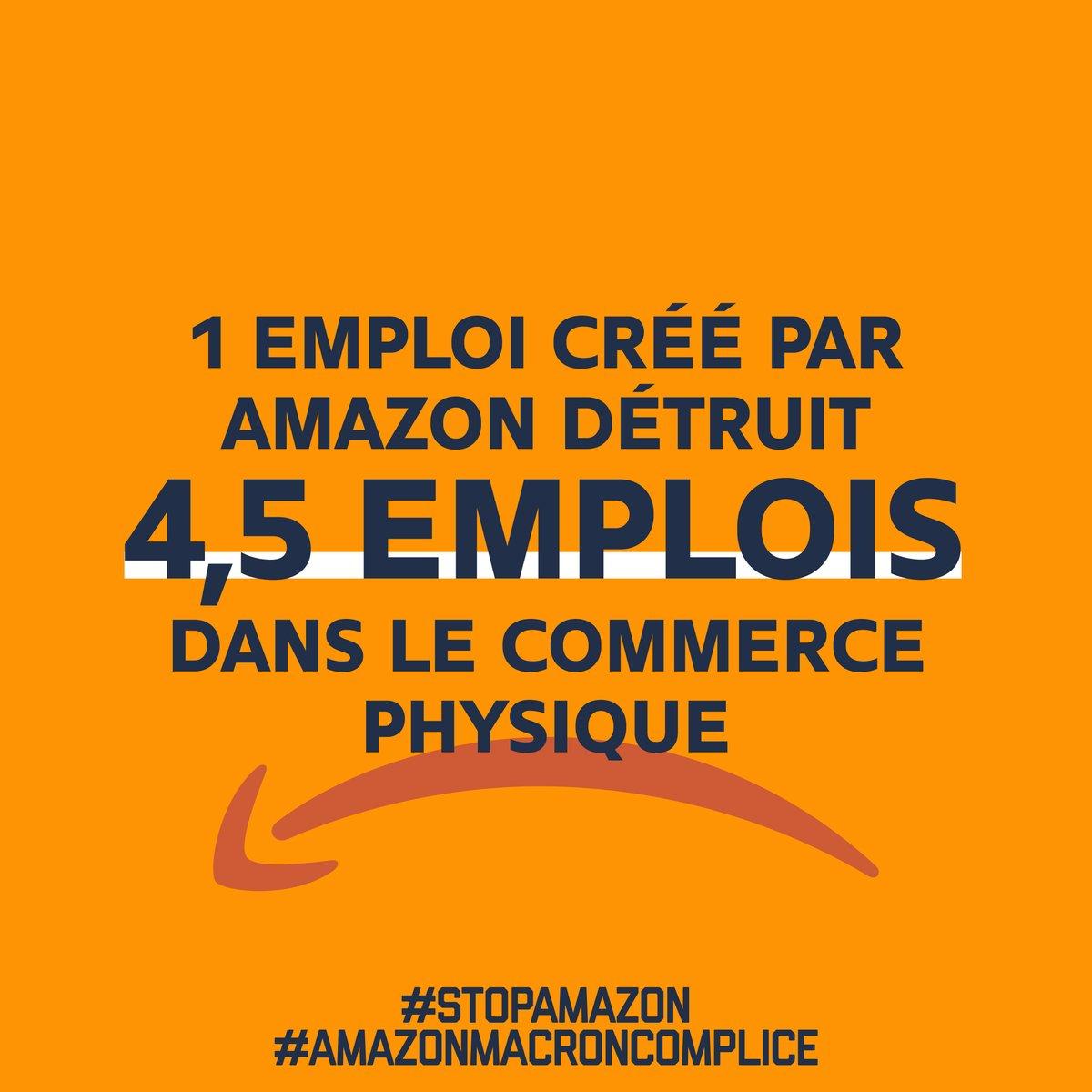 Amazon a ouvert 13 entrepôts cette année, une dizaine d'autres sont en projets alors qu'ils détruiront 4,5 emplois pour 1 créé. La loi CCC peut les stopper mais @EmmanuelMacron & @LaREM_AN excluent encore le moratoire e-commerce du projet de loi! #AmazonMacronComplice #StopAmazon https://t.co/LmoY5RTh9B