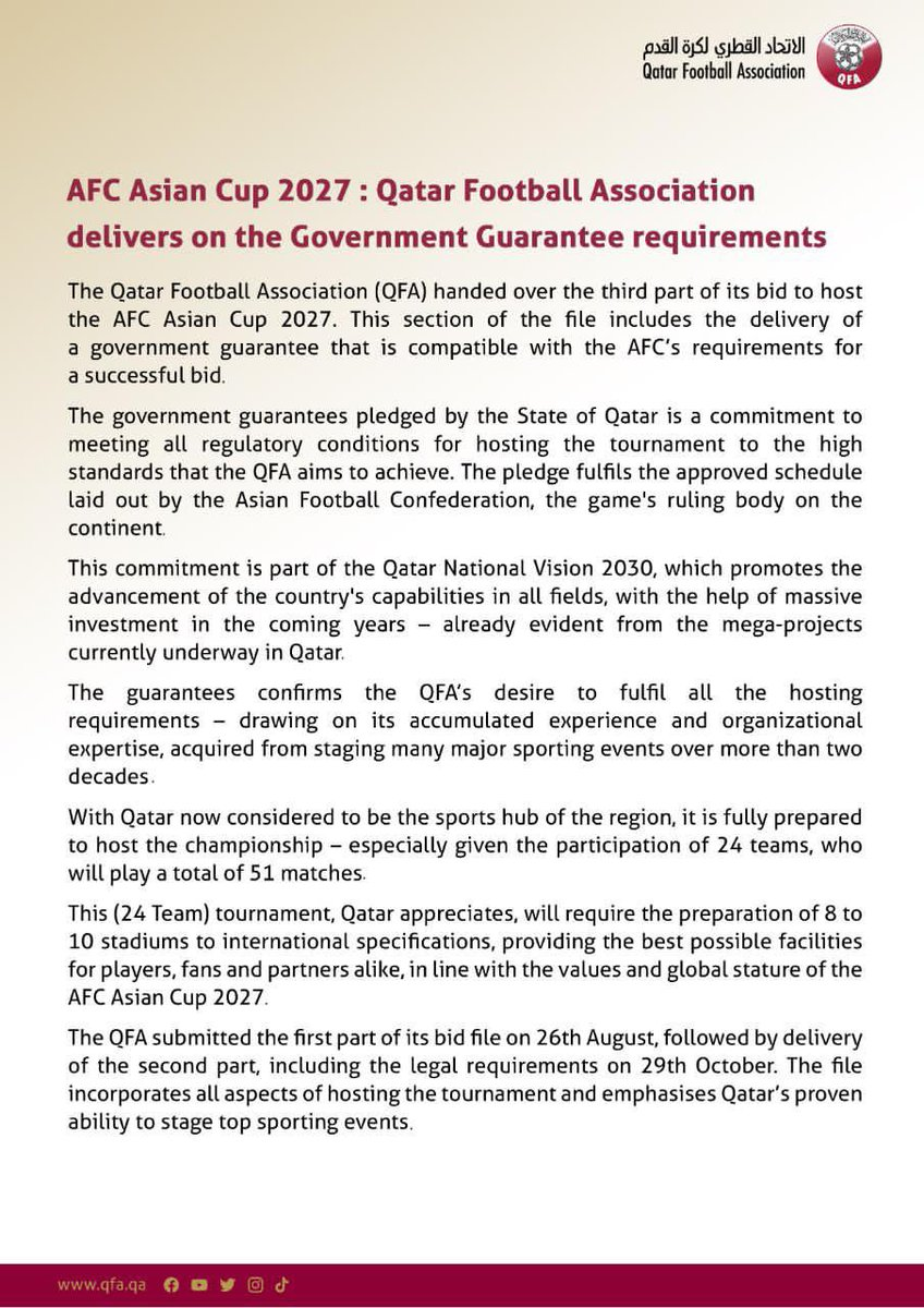 The Qatar Football Association has handed over the third part of the bid to host the AFC Asian Cup 2027, which includes the Government Guarantee requirements