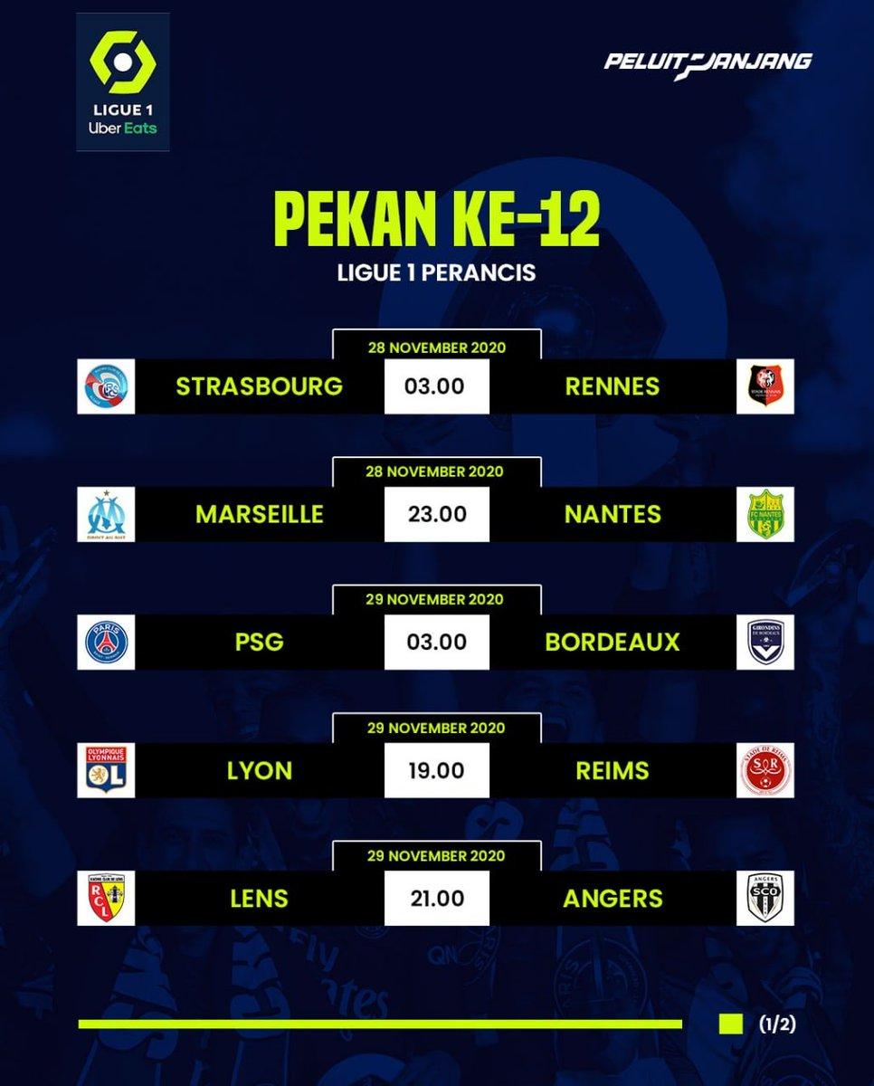 🇫🇷 Jadwal Ligue 1 Perancis lengkap akhir pekan ini (match day 12)  Pertandingan menarik: Marseille vs Nantes PSG vs Bordeaux Lyon vs Reims Monaco vs Nimes Nice vs Dijon  Ada yang kami lewatkan?  Retweet biar yang lain tahu! https://t.co/kZYVkdF78N