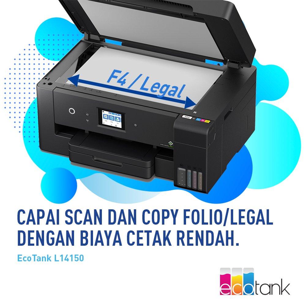 Dengan L14150, Anda kini bisa scan dan copy media berukuran folio, tentu saja dengan biaya cetak yang rendah karena menggunakan sistem ink tank.  Info lengkap:   #CopyFolio #inktank #EcoTank