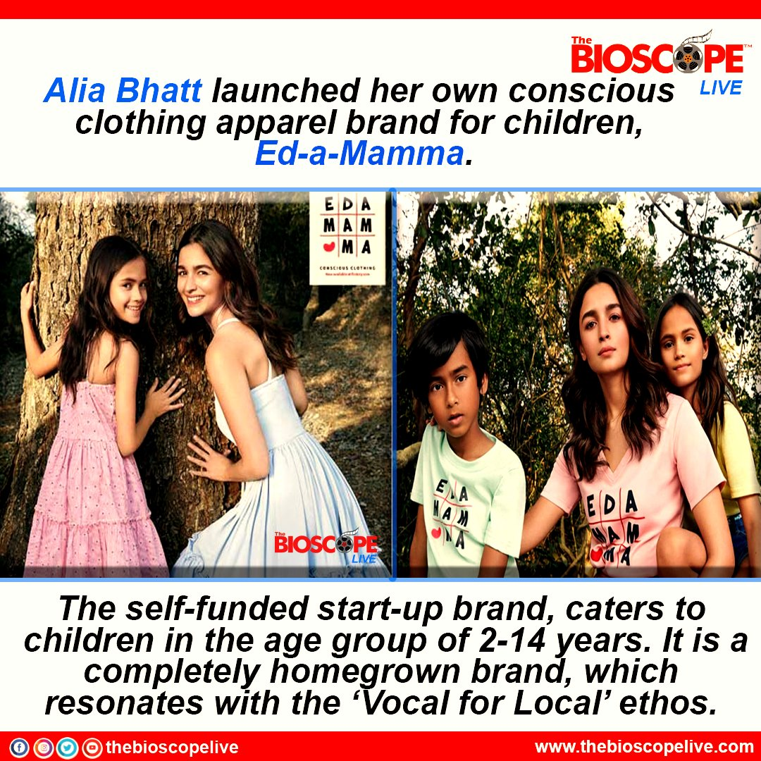 #AliaBhatt has launched a clothing line for kids called Ed-a-Mamma  @aliaa08 @MaheshNBhatt  #bollywoodcelebs #bollywoodactresses #thebioscopelive #bollywood #MaheshBhatt #director #actress #bollywoodnews #Facts #FactsMatter #localforvocal #nepotism #starkid #India #brand #clothes