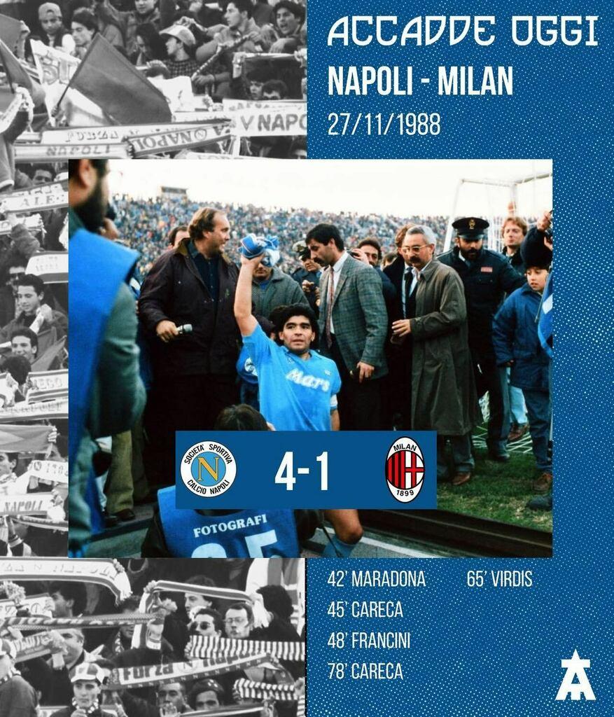 🔙Accadde Oggi Il 27 novembre 1988, il Napoli batteva 4-1 il Milan, in Serie A, grazie al goal di Diego Maradona, alla doppietta di Careca e al goal di Francini. #NonSaraiMaiSolo #ForzaNapoliSempre #SSCNapoli #Napoli #TeamArrow #NapoliMilan #Milan #Di…