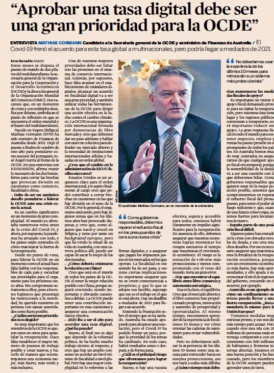 "El candidato a a secretaria general de la OCDE, Mathias Cormann @MathiasCormann: ""Aprobar una tasa digital debe ser una gran prioridad para la OCDE"" Entrevista en @exp_economia ➡️ cutt.ly/GhfKv5i"