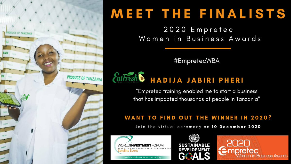 #EmpretecWBA: Hadija Jabiry started exporting the best of Tanzania's fresh produce to Europe in her 20s.  Her work taking Eat Fresh to tables around the world makes her a hot contender for our #WomenInBusiness Awards.  Tune in to find out who wins, 10 Dec: