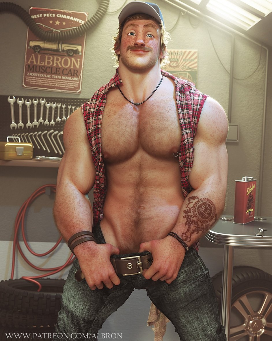❤️❤️HANK THE HUNKY MECHANIC ❤️❤️ Naked version available on my Patreon page patreon.com/Albron So if you enjoy my work and want to see more, support me on patreon. (Starting at 2$/month) Alex
