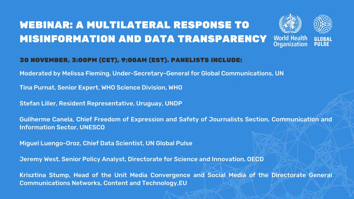 📢 Not to be missed! On Mon, 30th Nov, join us for a discussion on #data, #tech and #multilateral collaboration to halt the spread of the #infodemic.   W/ @WHO , @UNDP, @EU_Commission, @OECD , @UNESCO & moderated by USG for Comms @MelissaFleming.   ➡️