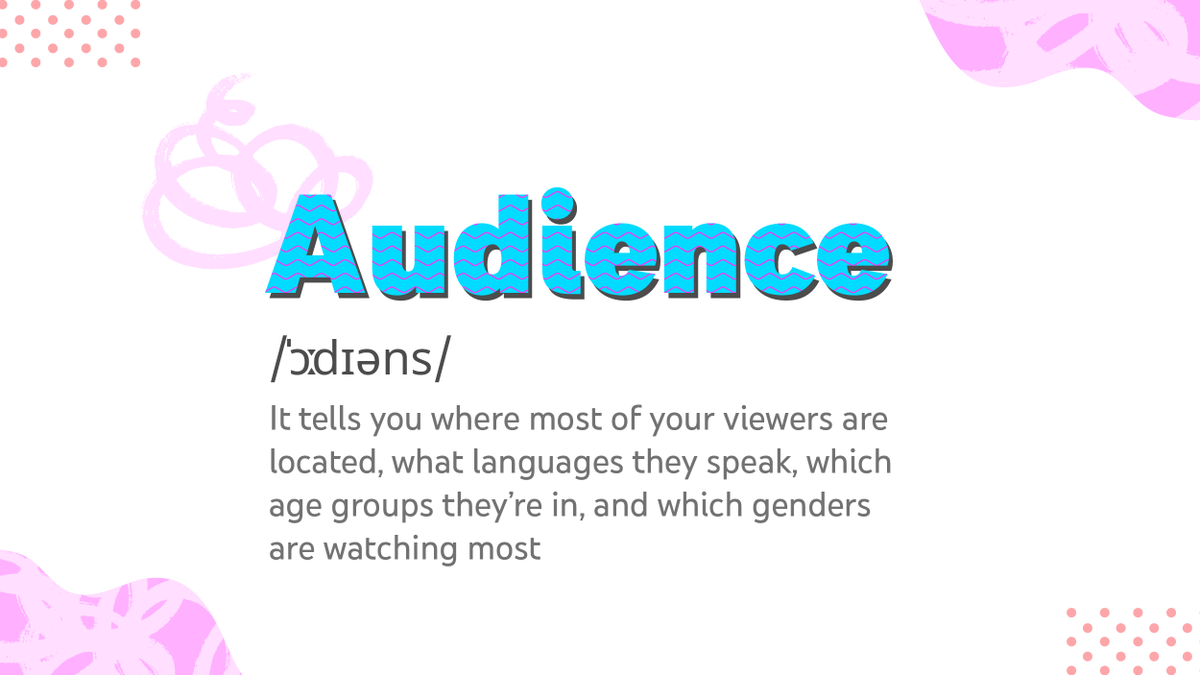 Get to know your audience well and create content keeping them in mind by using YouTube Analytics.
