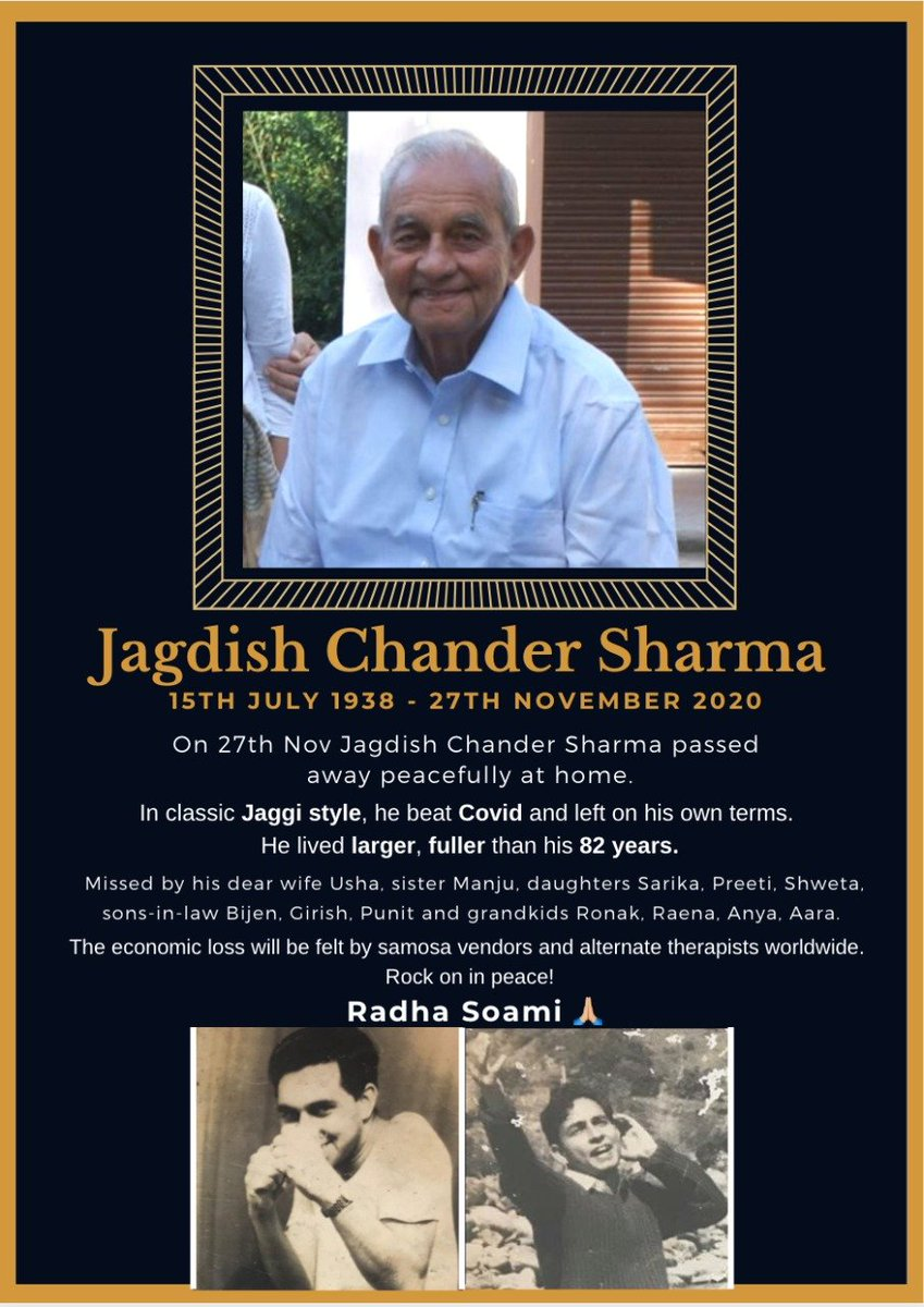 My father Jagdish Chandar Sharma passed away today, peacefully at home. A partition survivor from Karachi, who grew up in Delhi and adopted Mumbai, he was a global citizen without an iota of bigotry or misogyny. He will be missed.