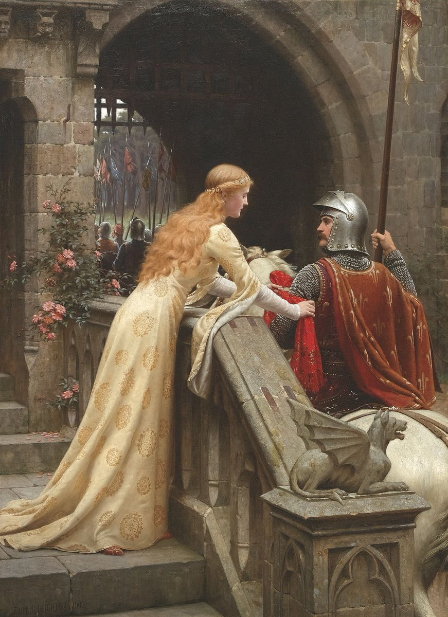 """""""God Speed! (1900)"""" Edmund Blair Leighton (21 September 1852 – 1 September 1922) was an English painter of historical genre scenes, specialising in Regency and medieval subjects."""