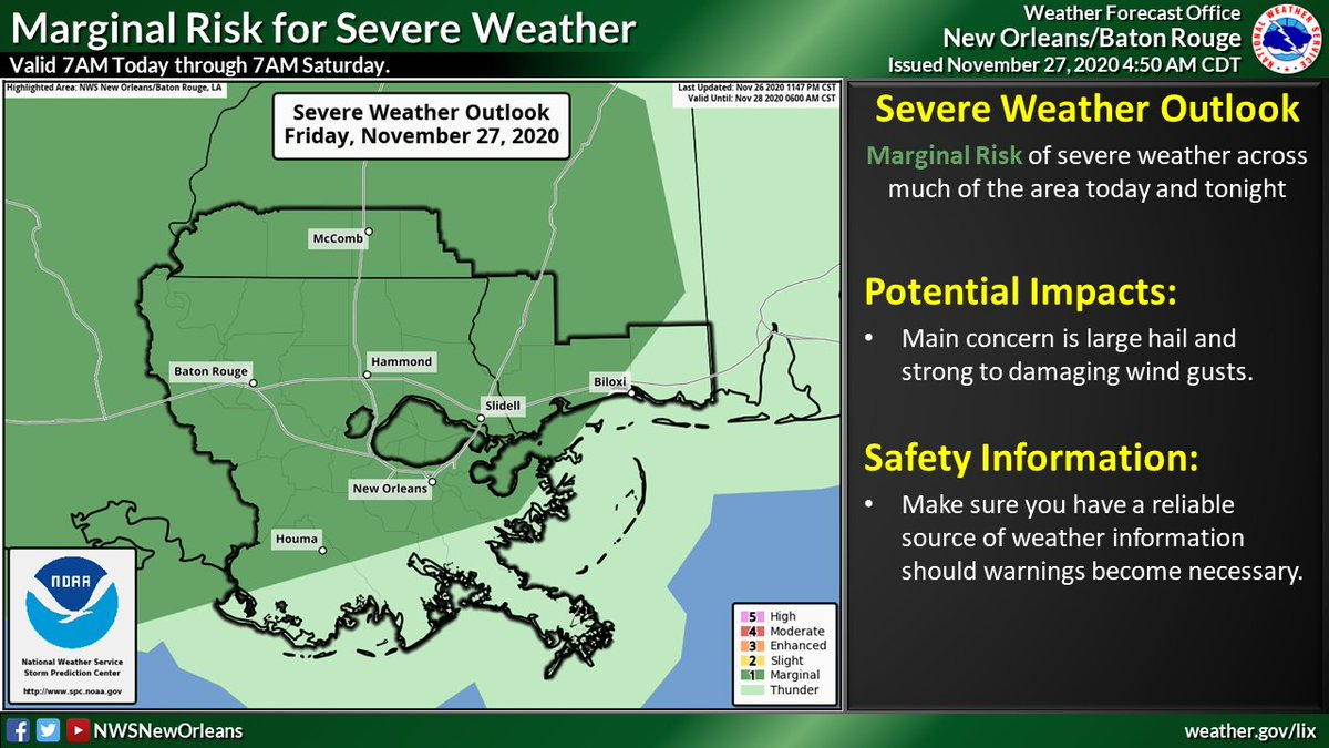 ⚠️ In addition to locally heavy rain there is also a low end risk for severe weather today & Sunday. Main concern today is damaging wind gusts 🌬 & large hail 🧊. If severe weather occurs Sunday all modes will be possible; damaging wind gusts, large hail, & isolated tornadoes 🌪 https://t.co/IwYNBl0hGO