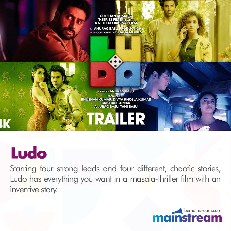 #Ludo is another gem of a movie by #NetflixIndia and stars #AbhishekBachchan #PankajTripathi #RajkummarRao and #AdityaRoyKapur in leading roles. The movie tells four stories of four very chaotic people and has been receiving great reviews since its release.  #Ludo #WeekendWatch