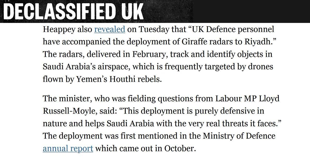 Good to see more media interest in the UK militarys deployment of air defence radars to Saudi Arabia since @DeclassifiedUK broke the story last week dailymaverick.co.za/article/2020-1…