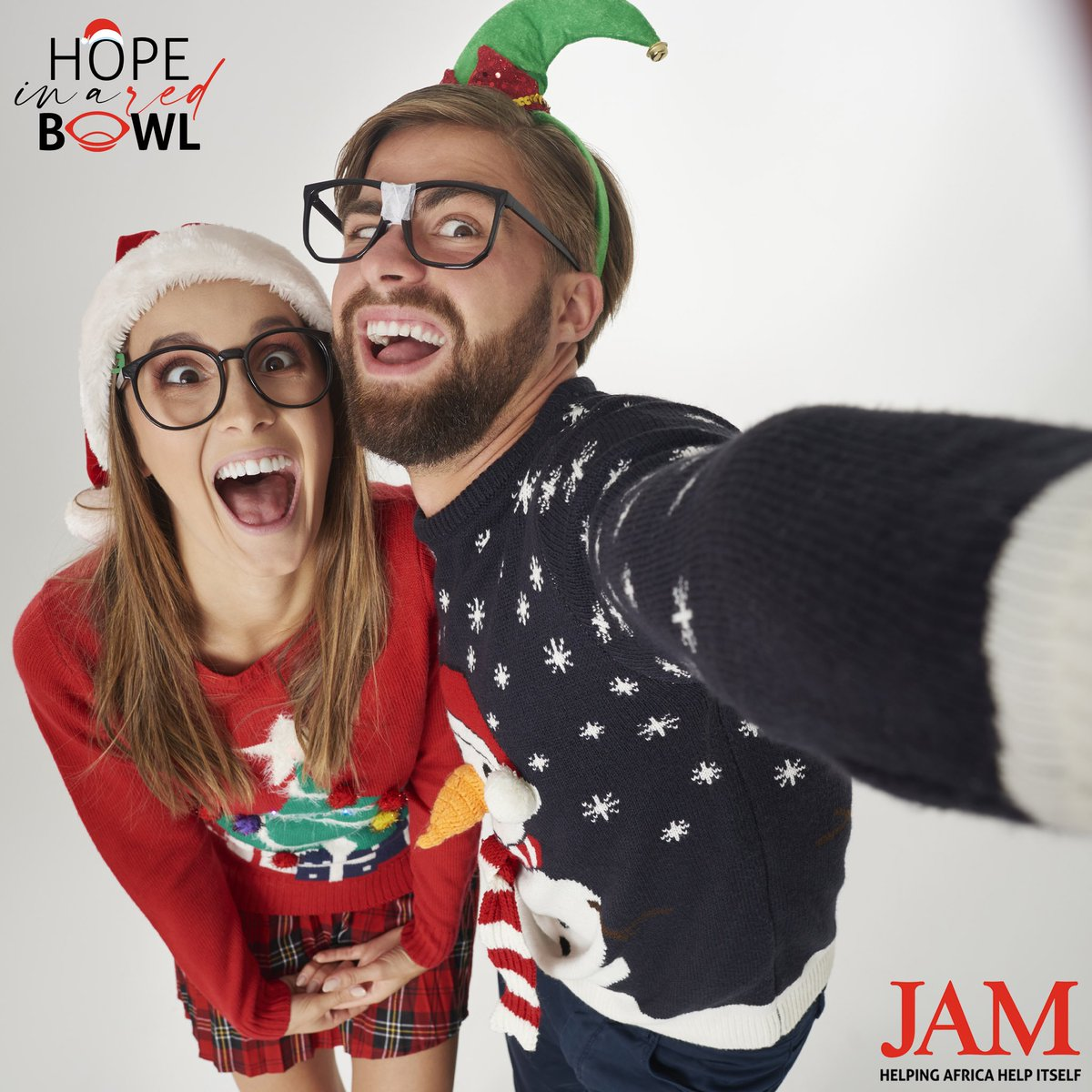 """Did you know it's #ChristmasJumperDay on the 11th of December⁉️ You could get your """"ugly jumpers"""" out and fundraise for #JAM with your colleagues or school friends this year❓Snap a selfie, donate & tag us in it too!! 📸 ... let's see just how ugly they come 😉  #HopeInARedBowl"""