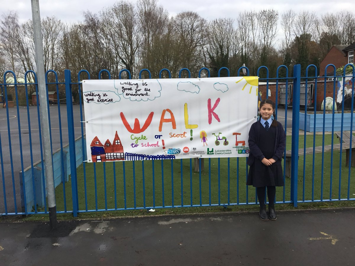 RT @StClaresPrimar1: Huge congratulations to year 5 pupil Kristen for her outstanding drawing on the Active Travel competition. Her drawing was chosen by Leicestershire County Council out of 90 school entries!   Look out for the banner on our front gates  Well done Kristen!  @LR_Sport
