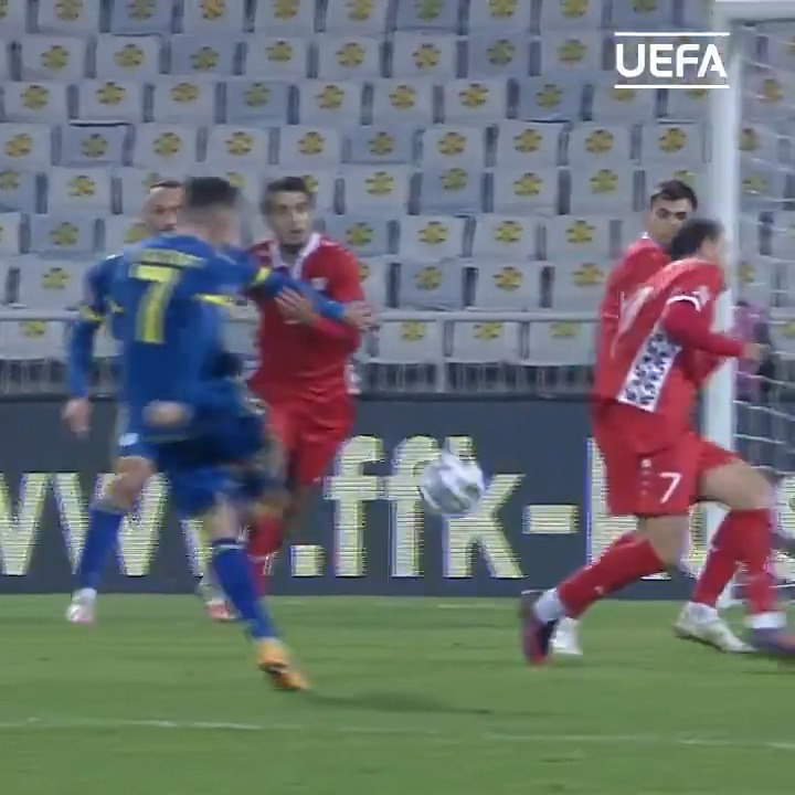 🇽🇰 Lirim Kastrati led Kosovo to #NationsLeague win with 𝑻𝑯𝑰𝑺 goal 😱  ⚽️ @FFK_KS
