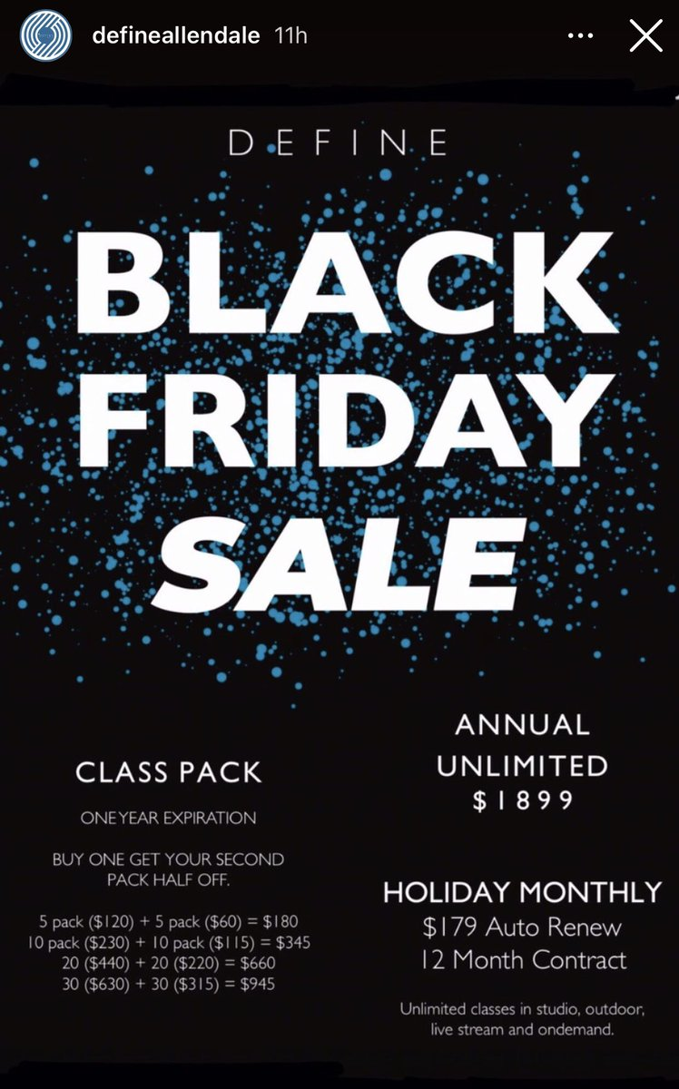 Check out our Black Friday Sale! Indoor & outdoor classes. Sign up now. Stronger together! https://t.co/gDuEmBsF0X #spin #yoga #barre #fitness #exercise #Bounce #momlife #teacher #running #Mindfulness #Stretching #workout #Lululemon #runners #cardio #health #streaming #gym #cycle https://t.co/vkVwltr2Dw