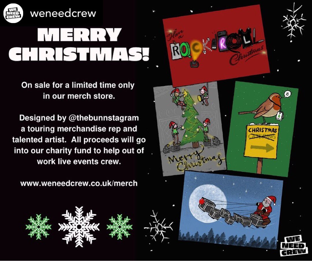 🎄2020 has been a tough year but we must keep spreading Christmas cheer! These brilliant industry themed cards are designed by a member of the touring community & proceeds will be donated to the #weneedcrew fund.  Buy here!    #wemakeevents #christmas2020