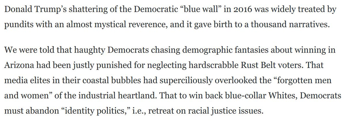 @RadioFreeTom When Trump shattered the Blue Wall, pundits treated this with mystical reverence for years, as if his alleged grasp of Neglected Real America was a quasi-paranormal phenomenon. Will see see even a fraction of this doting on the flipping of this script? washingtonpost.com/opinions/2020/…