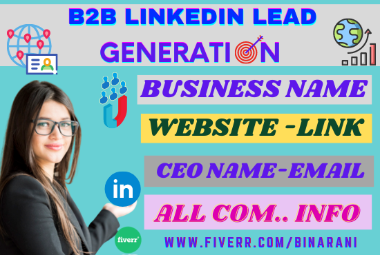 I will provide #targeted #b2b #linkedin #lead #generation  #DiaperDon #Trump #ILoveYoo #money #SOOBIN #Amazon #AUSvIND #AUSvsIND #China  @fiverr @agent_seller @GeekCrunchHost @DilipTirkey