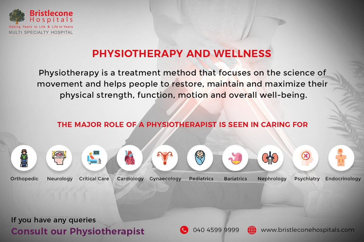 PHYSIOTHERAPY AND WELLNESS  #Bristlecone #BristleconeHospitals #Physiotherapy #Physio #Fitness #Physicaltherapist #Exercise #Wellness #Gym #Rehabilitation #Healthylifestyle #Sports #BestHospitalsInHyderabad #SuperSpecialityHospitalsInHyderabad #MultiSpecialityHospitalsInHyderabad https://t.co/PDn4id39Jc