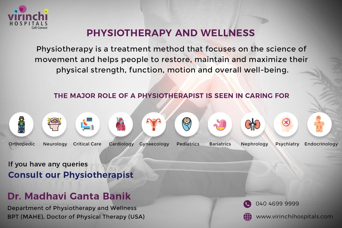 PHYSIOTHERAPY AND WELLNESS  Book Appointment https://t.co/BTx3VFRW12   #Virinchi #VirinchiHospitals #Physiotherapy #Physicaltherapy #Physio #fisioterapia #Rehabilitation #Fitness #Health #Physicaltherapist #Exercise #Wellness #Pain #Injury #Therapy #Massage #Gym #HealthyLifeStyle https://t.co/7rA5wMMz5D