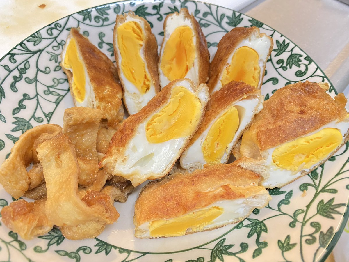 今夜私が頂いたのは…油揚げ卵の甘辛焼き🍳七味入りラー油🔥が隠し味👨🏻🍳