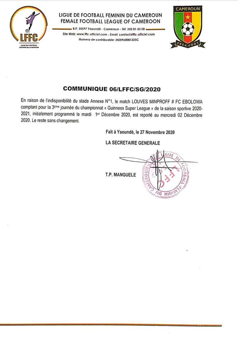 🔴🔴 COMMUNIQUÉ  Le match #LOUVESMINPROF 🆚 #FCEBOLOWA reporté au 02 décembre 2020.