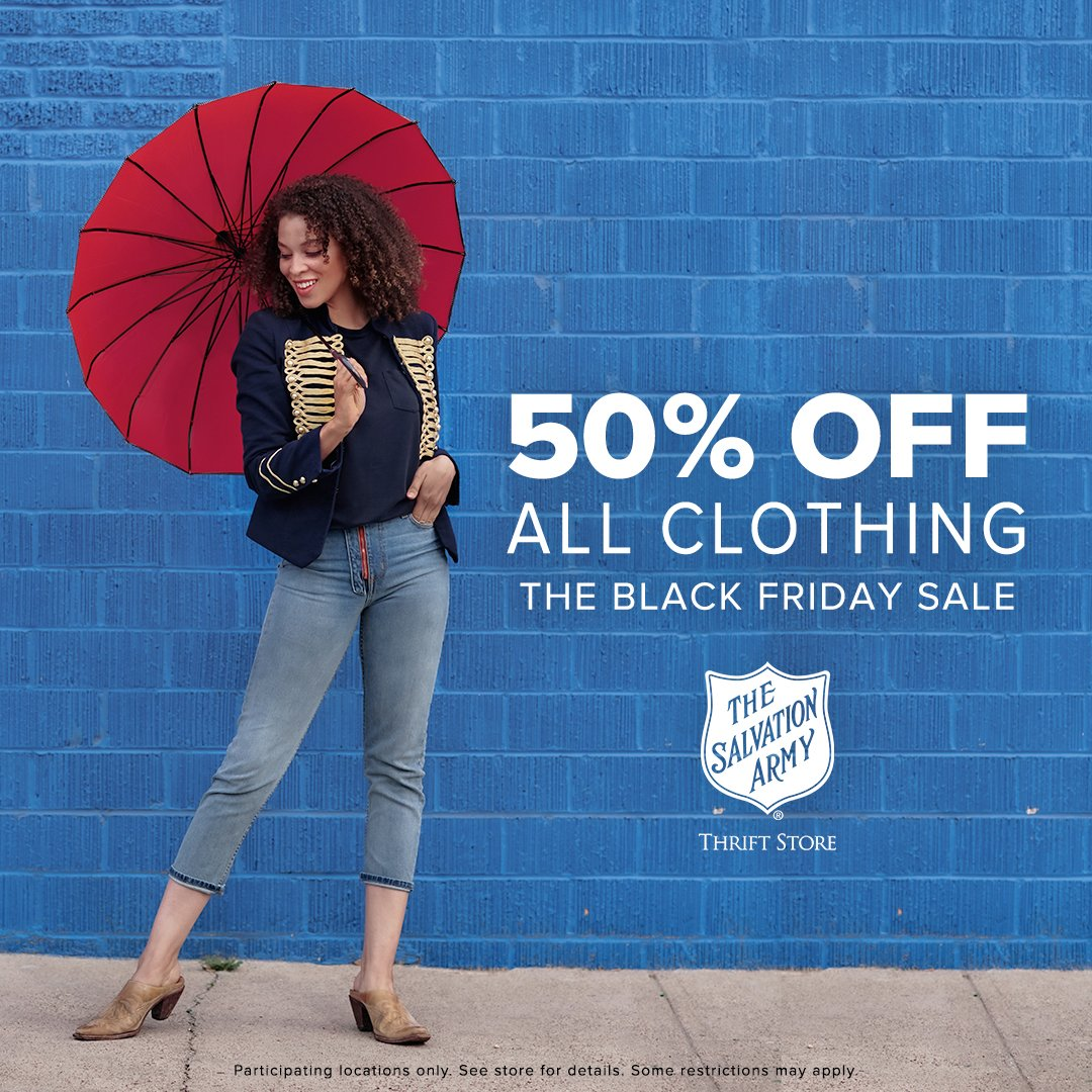 This Black Friday, your local Salvation Army Thrift Store has phenomenal finds at stunning prices. Enjoy 50% off all clothes on November 27! Find a store near you: