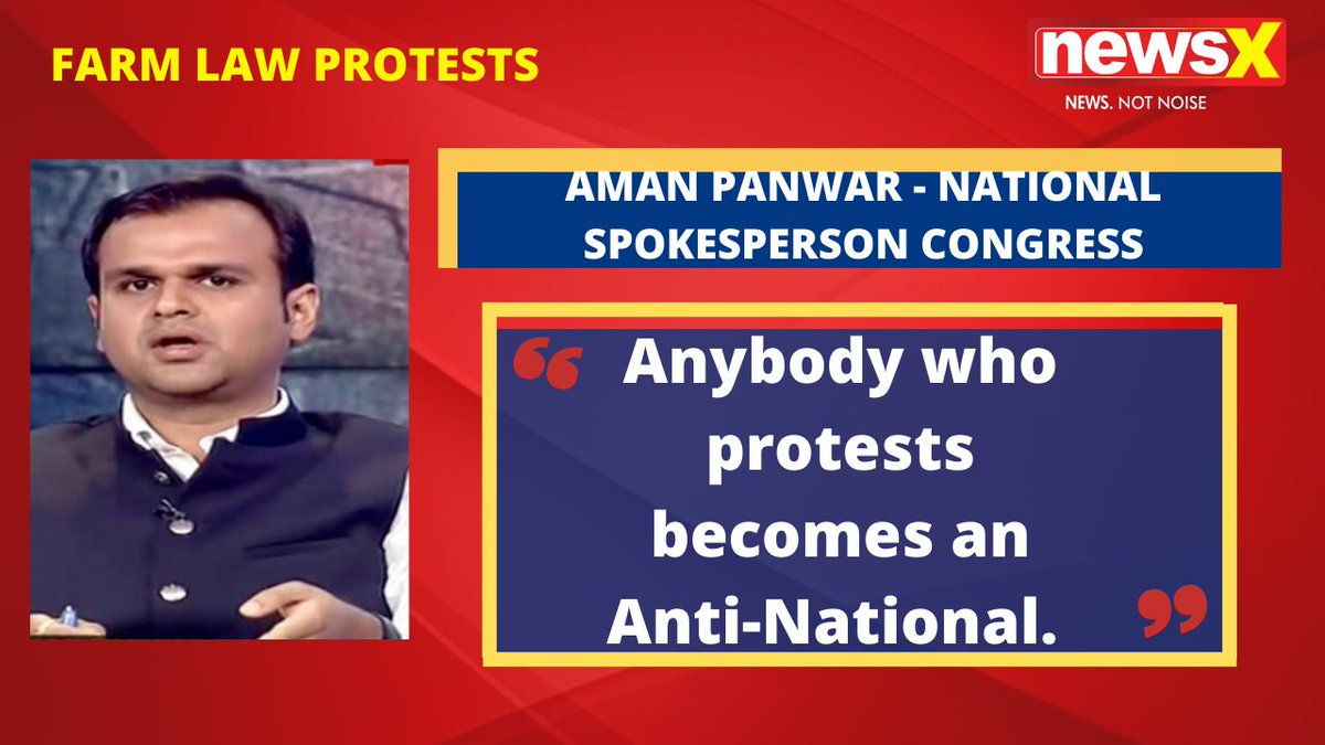 #DiliChaloProtests | There was no discussion held with any group. The Modi Government pushed it to the floor of the Parliament. Anybody who protests becomes an Anti-National. : Aman Panwar - National Spokesperson Congress (@amanpanwar) on #NewsX  @malhotravineet7