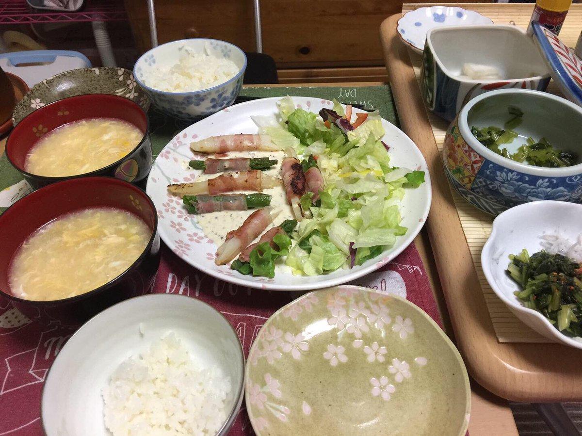 🌸#お家ごはん 🌸#おうちコープ さんのアスパラとポテトのベーコンを使って#クラシルレシピ からアスパラとポテトのベーコン巻きチーズソースかけ トロトロ中華風コーンスープ#減塩生活