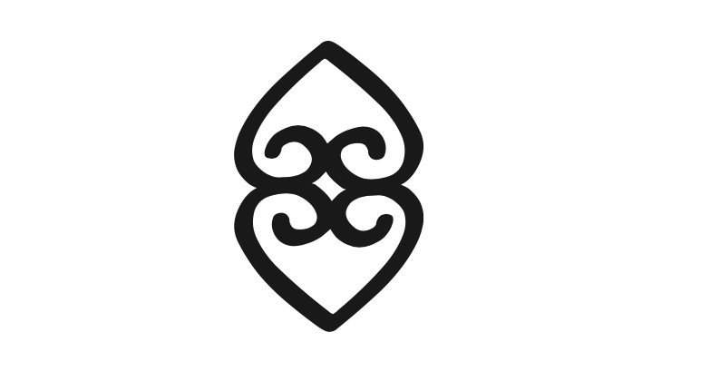 Adinkra symbols, a West African tradition in which symbols represent proverbs. (As used by @BernardineEvari in Girl, Woman, Other.) The adinkra below, with one heart supporting another, represents the importance of the Earth in sustaining life.