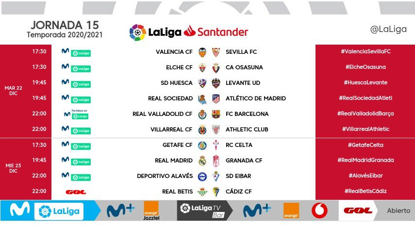 Replying to @LaLiga: MODIFICACIÓN | Estos son los horarios definitivos de la jornada 15 de #LaLigaSantander.