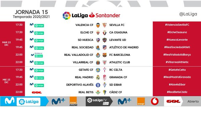 Horarios de la jornada 15 en LaLiga Santander.