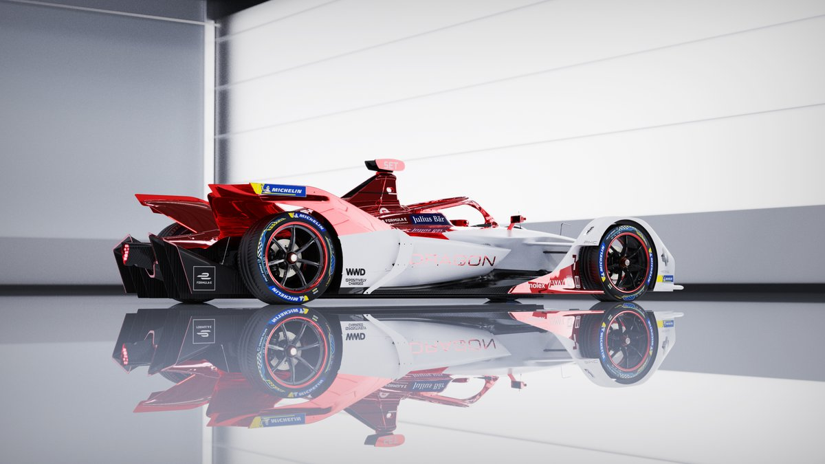 Pushed my rendering skillset to the max with this one, my first fully UV unwrapped and textured car, full studio and lighting environment,   Huge thanks to @DragonRacing_FE for giving me free reign on the design again this year  #FormulaE #Dragon #PenskeAutosport https://t.co/bEhSreaEyx