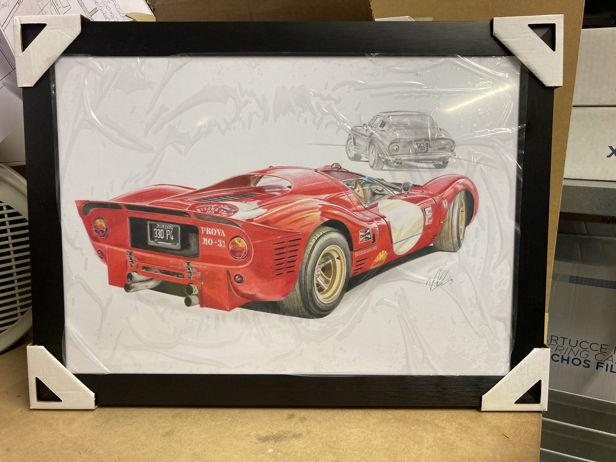 Pleased to say my drawing of a 330p4 and 275GTB/4 is now in the hands of its new owner. Happy #FerrariFriday , everybody. #ferrari #ngautoart #artist #cardrawing https://t.co/8hpk26txjW