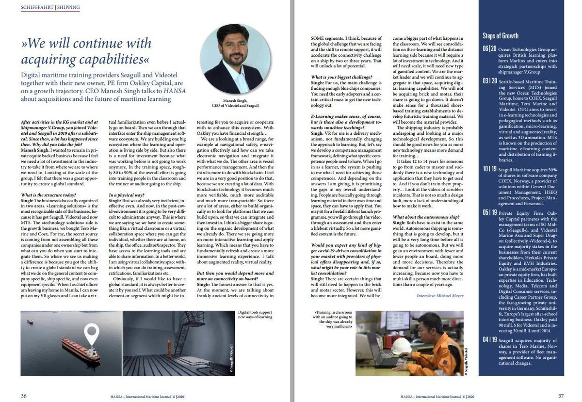 Make sure you read the November 2020 edition of #HANSA International Maritime Journal to learn what our CEO Manish Singh has to say about how Ocean Technologies Group has evolved and what the #future of #maritime #learning has in store for our #seafarers and #ship operators https://t.co/2Kc97xopF5