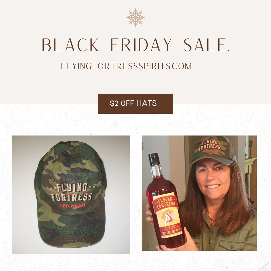 BLACK FRIDAY SALE!! It's the season of giving! #ShopLocal with us and you'll receive $2.00 your purchase of a Flying Fortress Spirits hat at checkout! Happy Shopping!  Coupon code: redhead   #hats #merchandise #blackfriday #shoplocal #SupportSmallBusiness