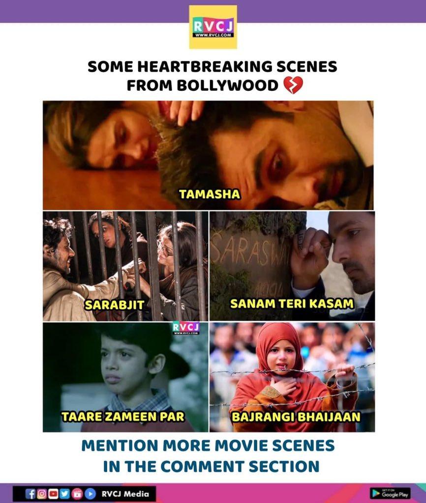 Heartbreaking scenes 💔 #tamasha #sarbjit #sanamterikasam #taarezameenpar #bajrangibhaijaan #bollywood #scenes #rvcjmovies
