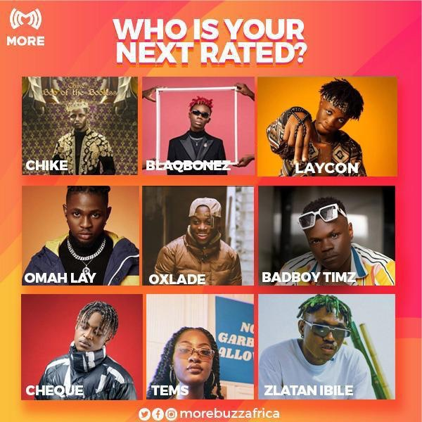 You have to vote for the NEXT RATED, who are you voting for?  -  Chike Blaqbonez Laycon Omah Lay  Oxlade  BadBoyTimz  Cheque Tems Zlatan  #nextrated #music  #FridayVibes #MORECommunity