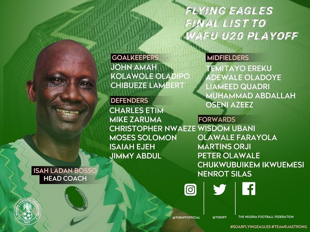 🇳🇬 Flying Eagles coach Ladan Bosso names 20 players for the #wafubU20 playoffs.  #Team9jaStrong  #Nigeria #flyingeagles https://t.co/uWG6Lqdq1Y