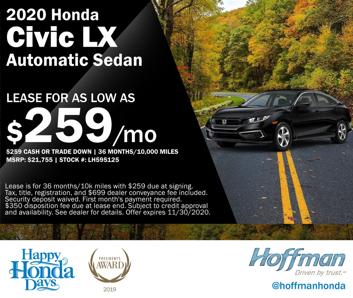 Hoffman Honda On Twitter Check Out This Lease On A 2020 Honda Civic In Stock And Ready To Be Delivered To Your Home Or Office Check Out Our Website For More Lease