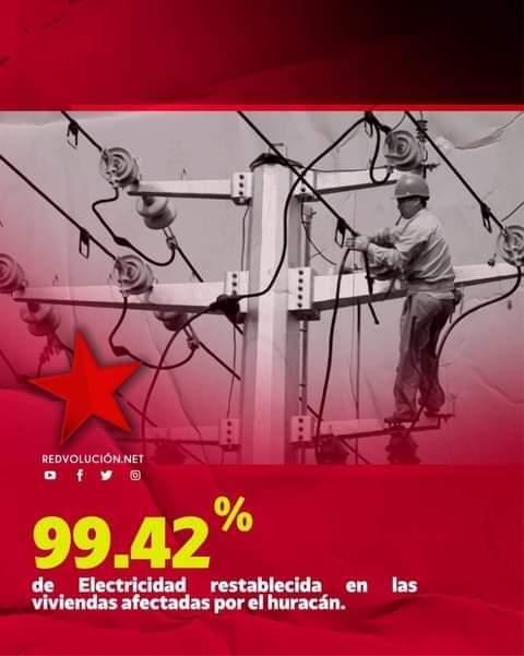 Graciasa las gestionesde nuestro buen GobiernodirigidoporelComandanteDaniel PresidentedelaPaz ya esta el 99.42 % de la Electricidad restablecida en las viviendas afectadas por el #Huracanlota #ConOdioNuncaMas #EnVictoriosaEsperanza #DanielMiPresidente2021  @maquimo63 @Josvilla17