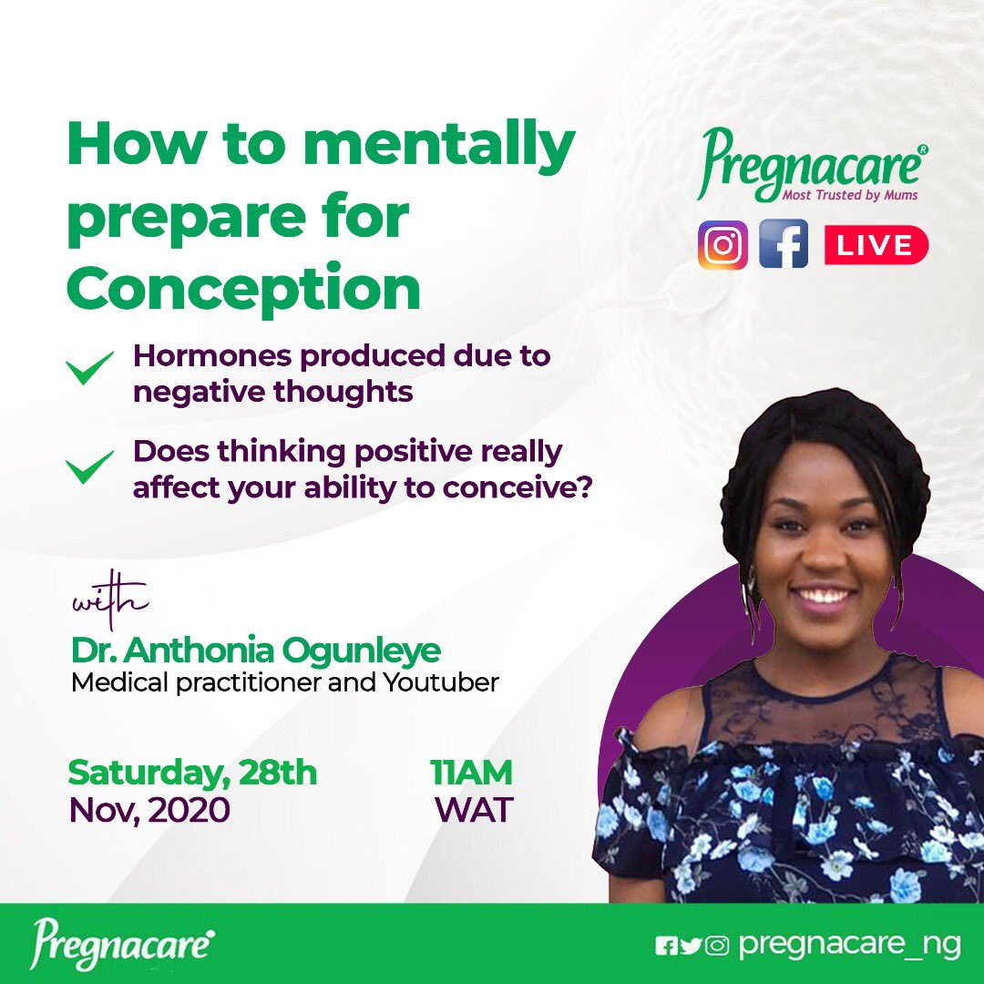 """#FridayMotivation Keep a Date with us Tomorrow.😊😊 Join us Live on Instagram and Facebook this Saturday 28thof November, 2020 as our guest speaker, Dr Anthonia Ogunleye, @dr.anthonia Medical Practitioner and Youtuber discusses the Topic: """"How to mentally prepare for Conception"""""""