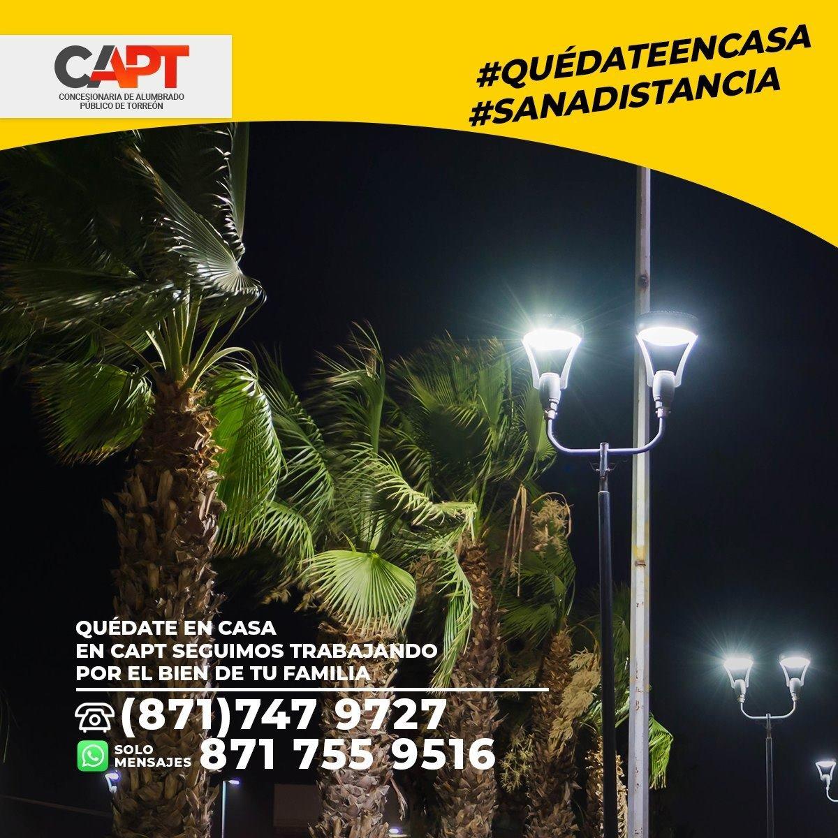 ¡Trabajamos con el compromiso de mantener iluminada y segura tu ciudad! #QuedateenCasa #Torreón #Coahuila #México #LED #CAPT https://t.co/Mwukn81gim