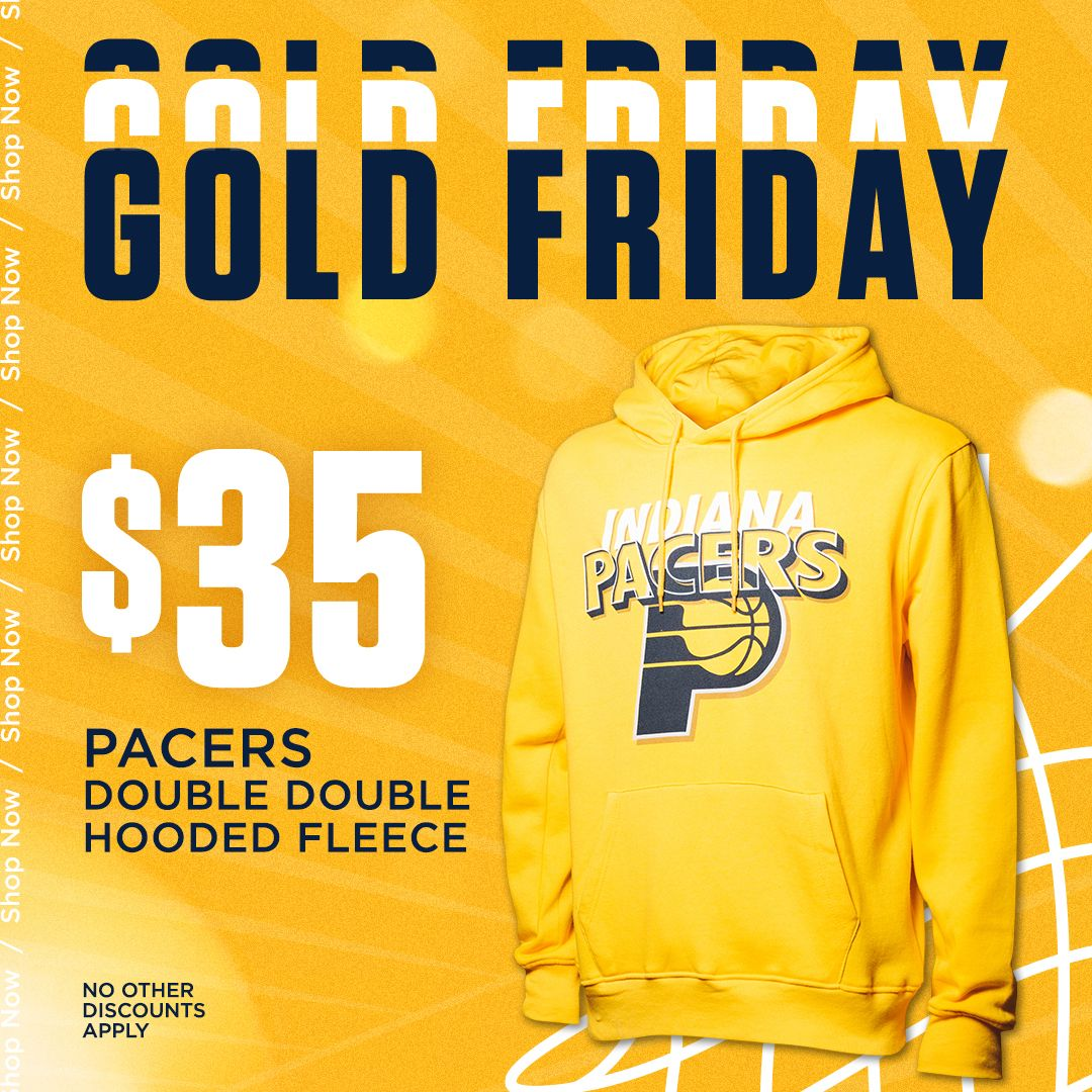 🚨🚨 We have an ENTIRE WEEKEND of discounts starting with today's #GoldFriday deal! Save $30 on this Indiana Pacers gold hoodie!   🛒: https://t.co/eddqNjDgCM https://t.co/qN0CwzIyrO