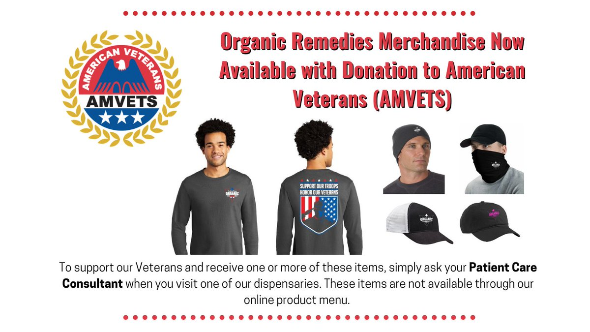 Organic Remedies is proud to support AMVETS as we honor our veterans and military service members. We are offering t-shirts and other merchandise for a donation to AMVETS. Ask your Patient Care Consultant about supporting AMVETS! #AMVETS #Veterans #VeteransDay #MMJ #PTSD